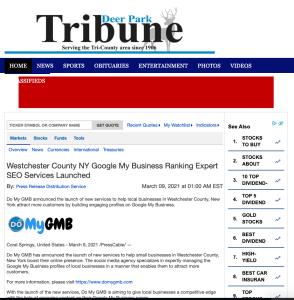 Deer Park Tribune DoMyGMB Press Release