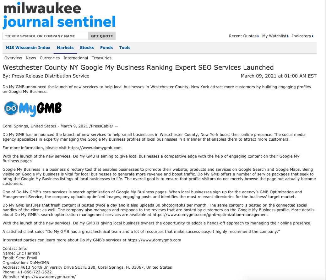 Milwaukee Journal Sentinel DoMyGMB Press Release
