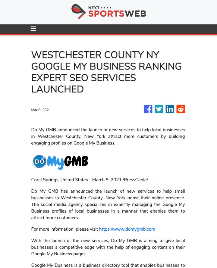Next Sports Web DoMyGMB Press Release