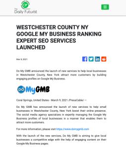The Daily Futurist DoMyGMB Westchester Press Release