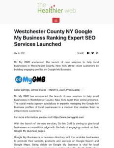 The Healthier Web DoMyGMB Westchester Press Release
